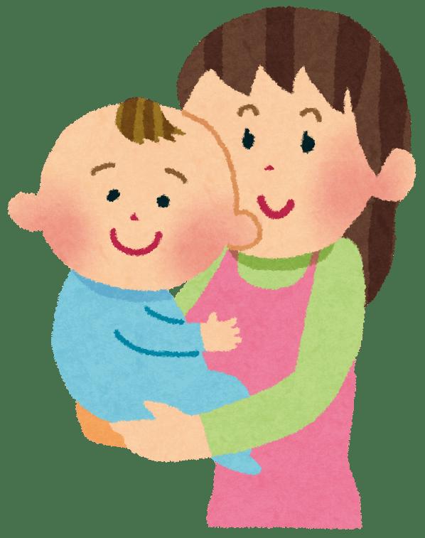 赤ちゃんを抱っこしている母親のイラスト