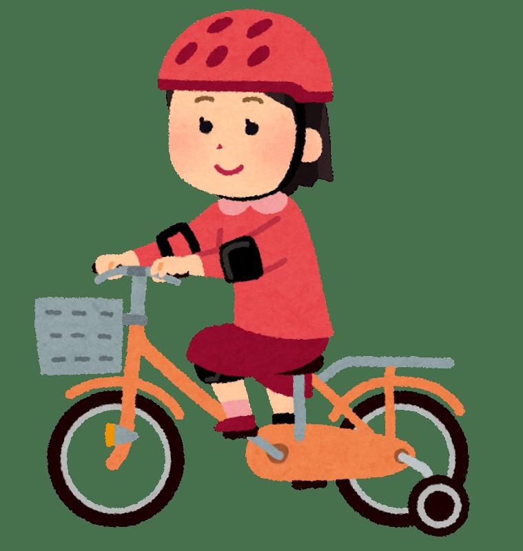 補助輪のついた自転車に乗っている女の子のイラスト