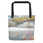 Tote Bag with art By the Flowing River by Malinee Ganahl
