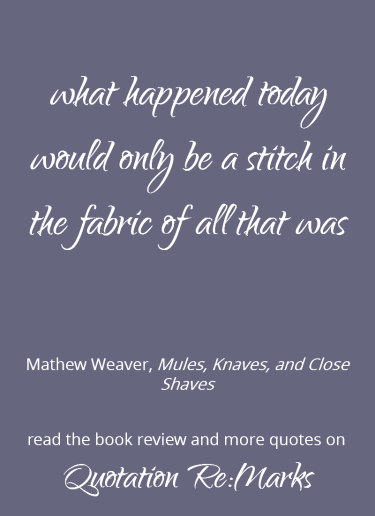 Quote about perspective and the bigger picture from the book Mules, Knaves, and Close Shaves by Mathew Weaver.