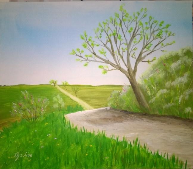 Fruelingspartie-mit-Weg-und-Baum