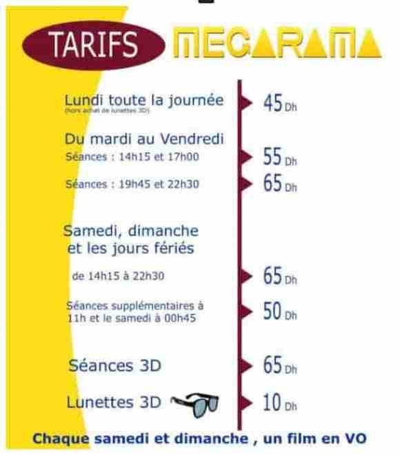 Grille des prix megarama en fonction de l'horaire