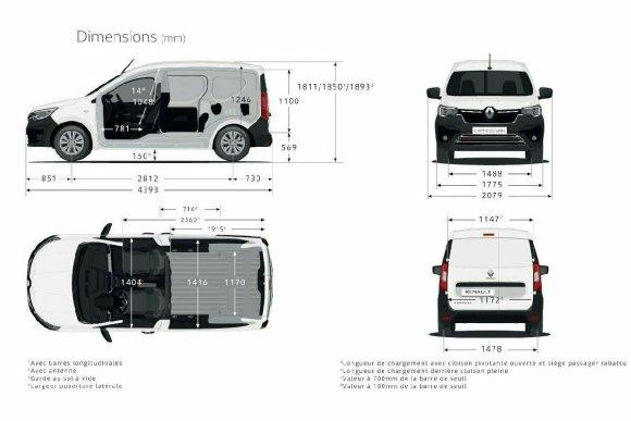 image et dimension du nouveau Renault Express Van 2021