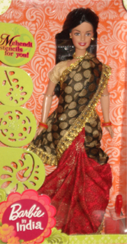 Buy Indian Barbie in Blue  Pink Saree Barbie in Saree