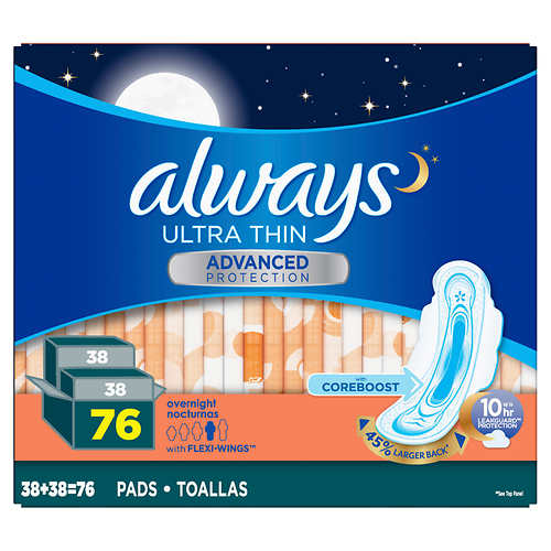 Always Ultra Thin Advanced Overnight Pads, 76-count
