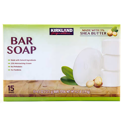 Kirkland Signature Bar Soap with Shea Butter, 15 Bars