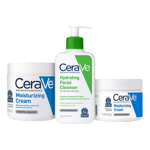 CeraVe Cream and Hydrating Cleanser, 3-pack