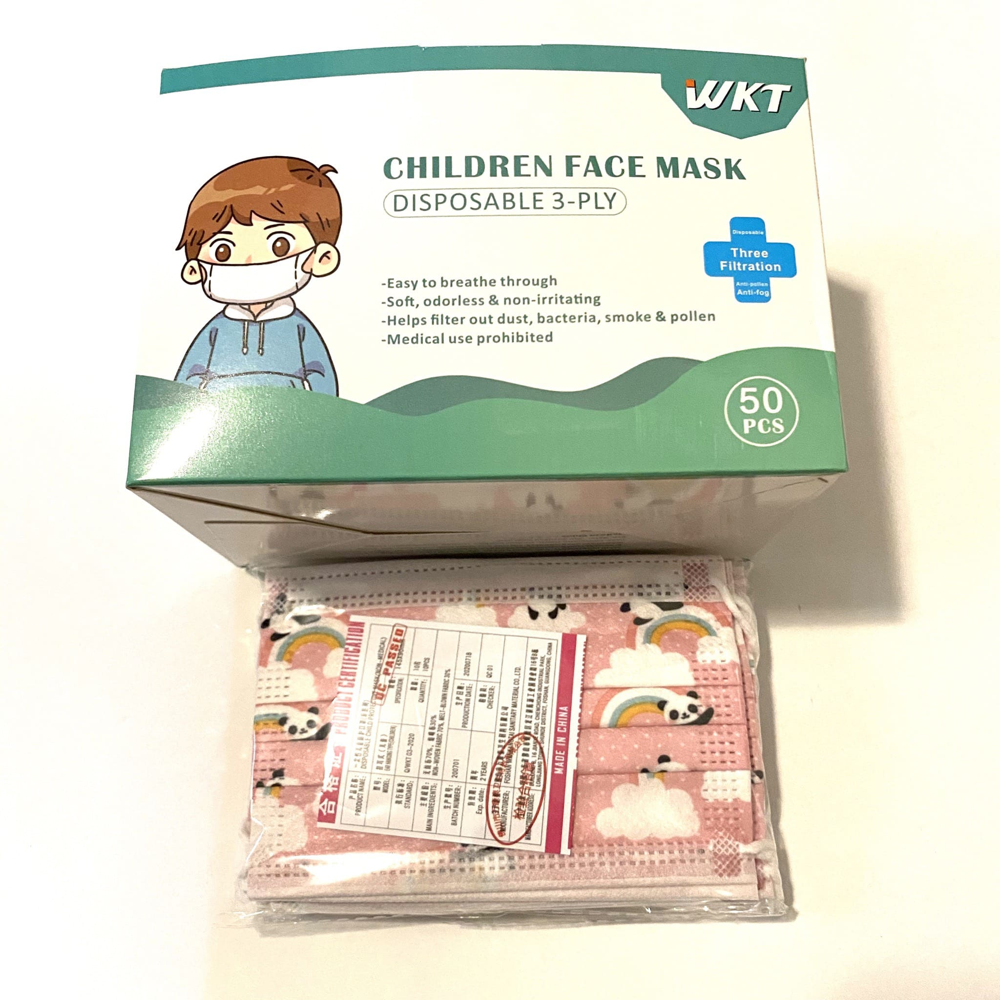 WKT Children Face Mask Disposable 3-ply 儿童一次性口罩 50..