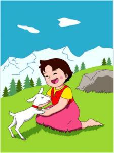 Fotograma de la serie Heidi, basada en la novela de mismo nombre, que narra las vivencias de una niña y  su ganado de cabras en una zona montañosa con arbolado, roquedales y fuertes pendientes. Hoy no podría existir por la fuerte dependencia de la ganadería a las subvenciones, y ser una zona que no cobraría la PAC