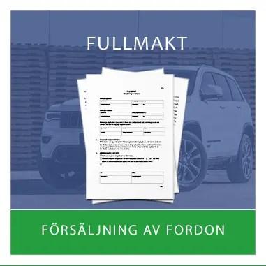 Mall för Fullmakt - försäljning av fordon