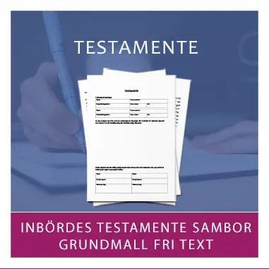 Mall dokumentmall av testamente för sambor med fri text