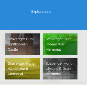 Four scavenger hunts are available in the Explorations section.