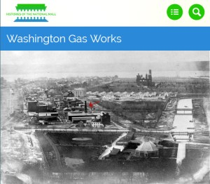 The red arrow alerts the user of the location of the Washington Gas Works.
