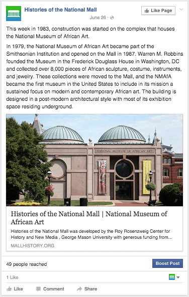 A screencap of a post on facebook displaying the National Museum of African Art photograph and text.
