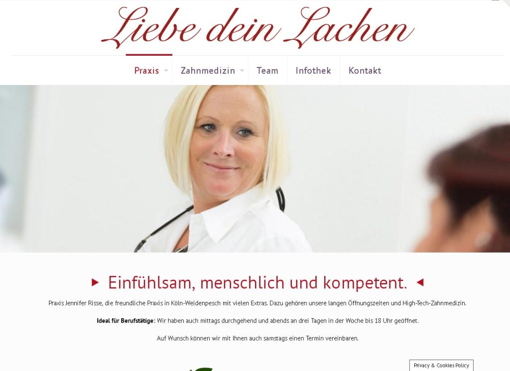 Zahnarztpraxis Jennifer RisseProgrammierung, Grafik, Layout: Website www.liebedeinlachen.com
