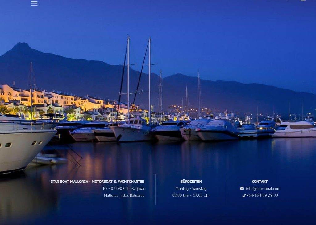 Star Boat Mallorca Entwicklung der CI, Grafik & Layout für Online www.star-boat.eu