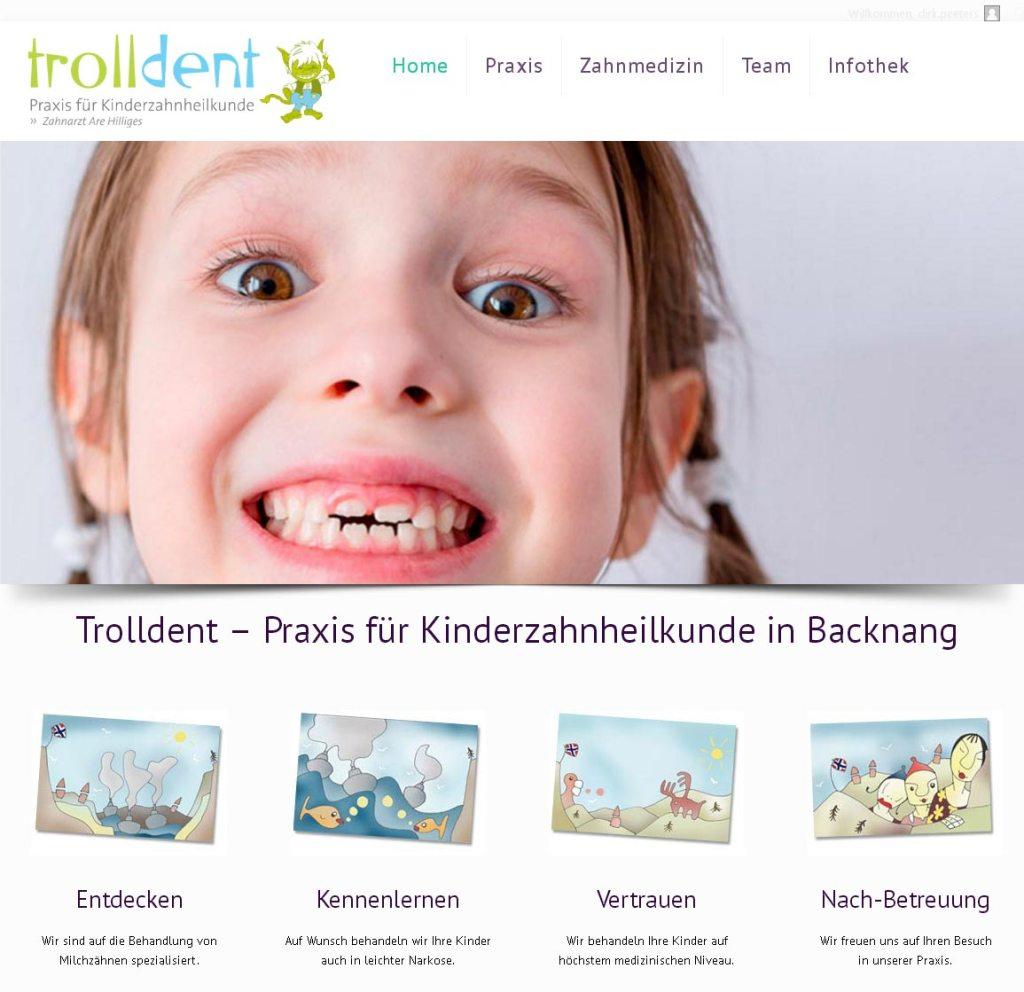 Trolldent Entwicklung der CI, Grafik & Layout für Online www.trolldent.de