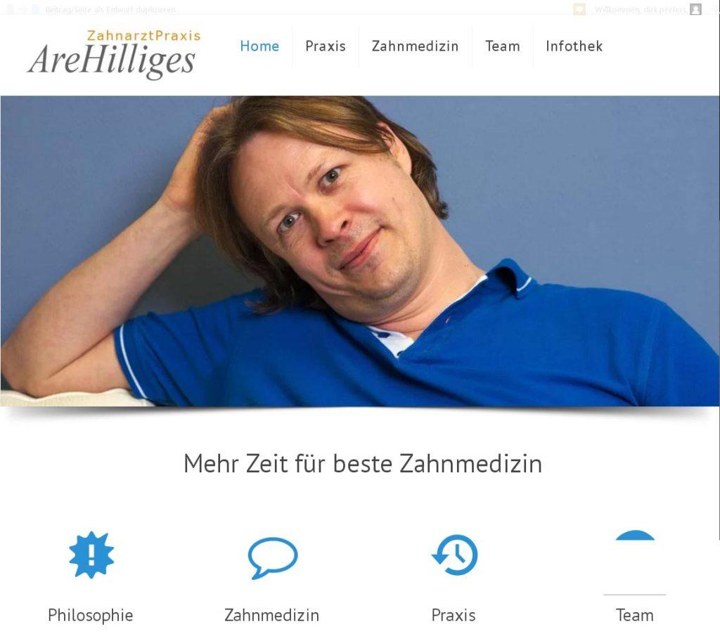 ZahnarztPraxis Are Hilliges Entwicklung der CI, Grafik & Layout für Online www.zahnarztpraxis-hilliges.com