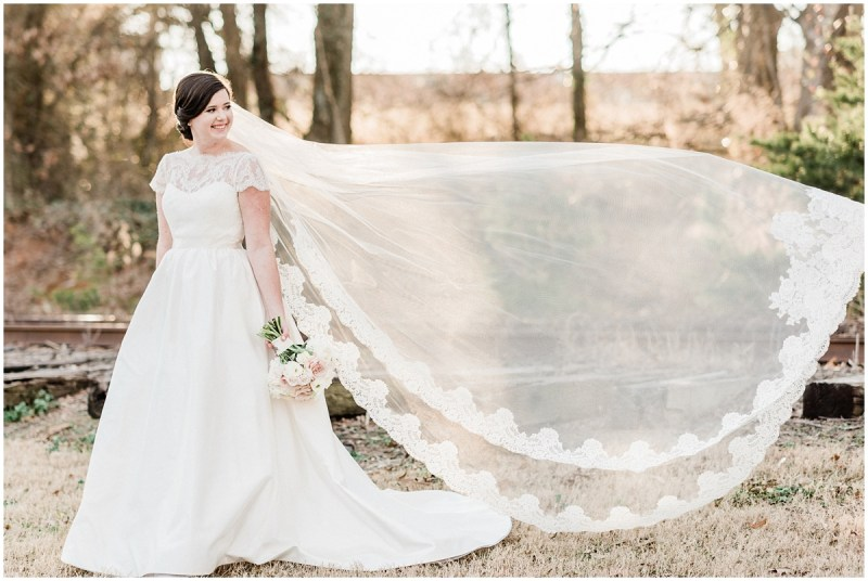 Larkins Sawmill bridal session veil shot