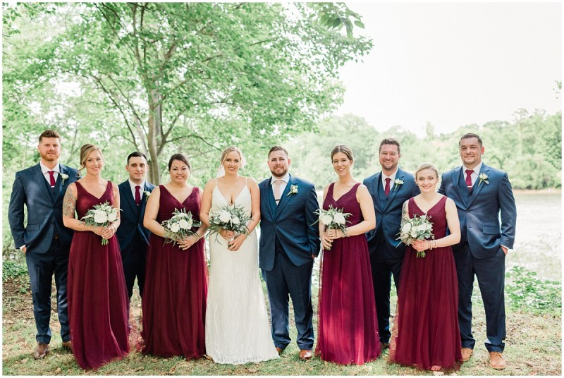 Maroon and Navy Bridal Party