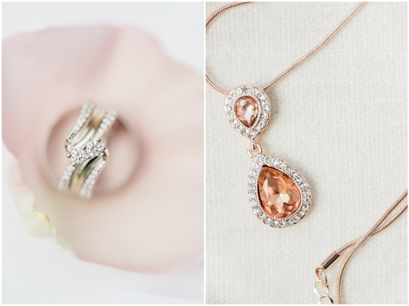 Dusty rose inspired bridal jewelry