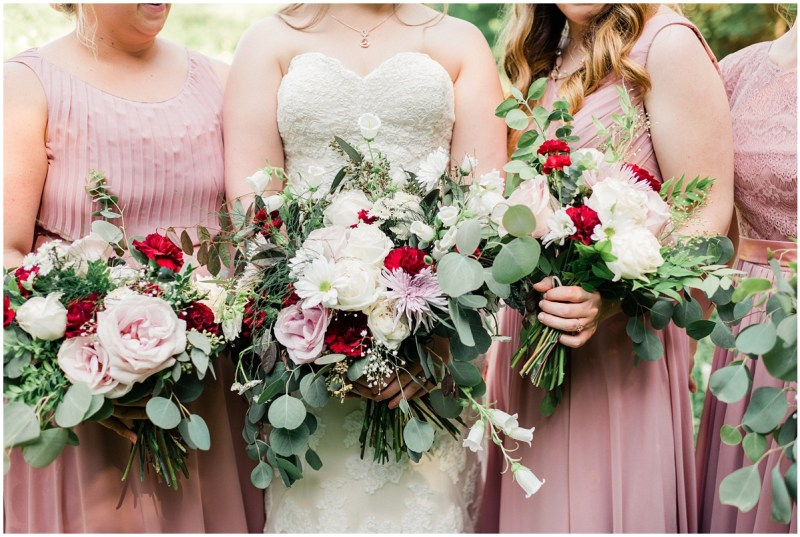 Maroon, blush and eucalyptus wedding flowers
