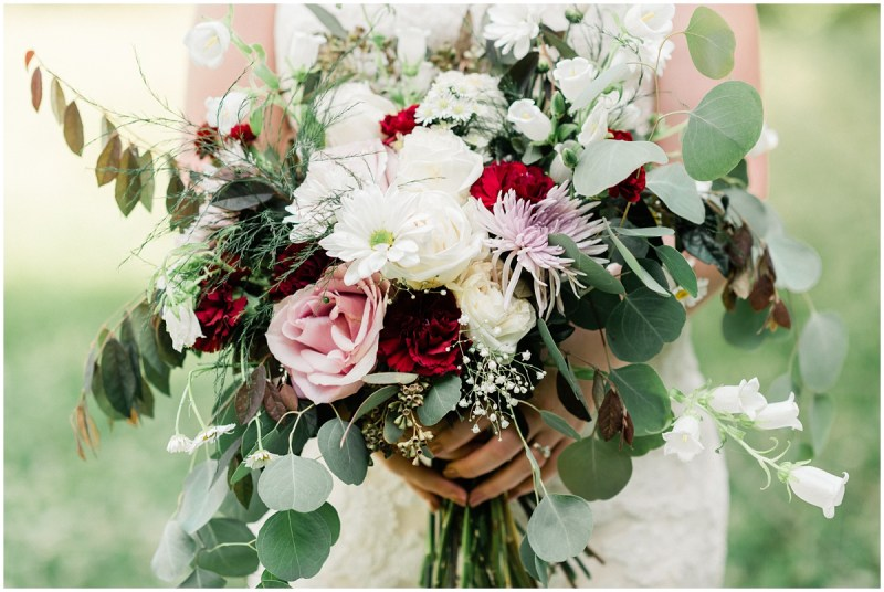 Bridal bouquet with maroon and blush