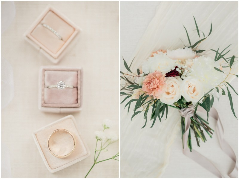 The Mrs. Box styled wedding rings and wedding bouquet