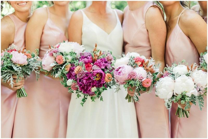 Bright pink wedding bouquets