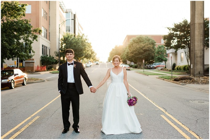 Downtown Greenville L Wedding Bride and Groom Sunset Photos