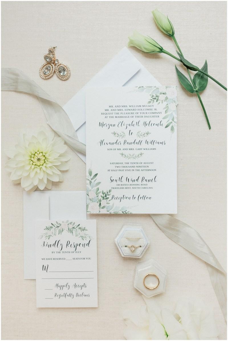 Greenery inspired wedding invitation suite
