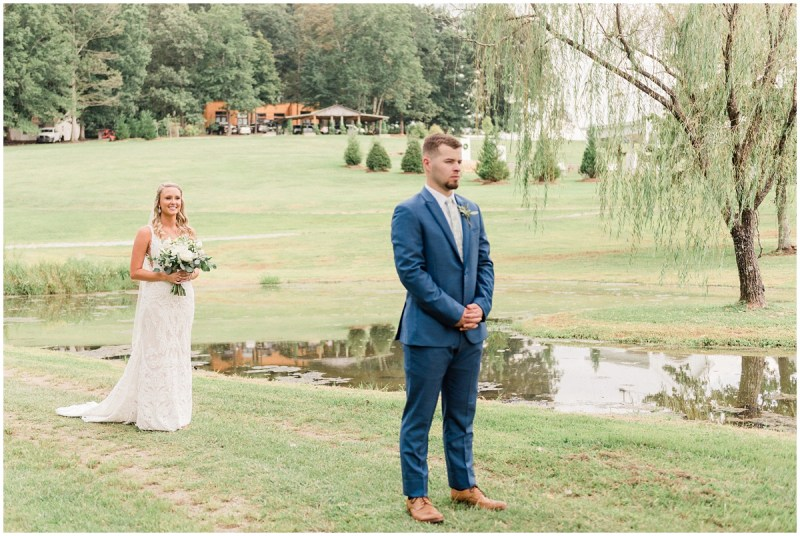 Bride & Groom First Look at South Wind Ranch