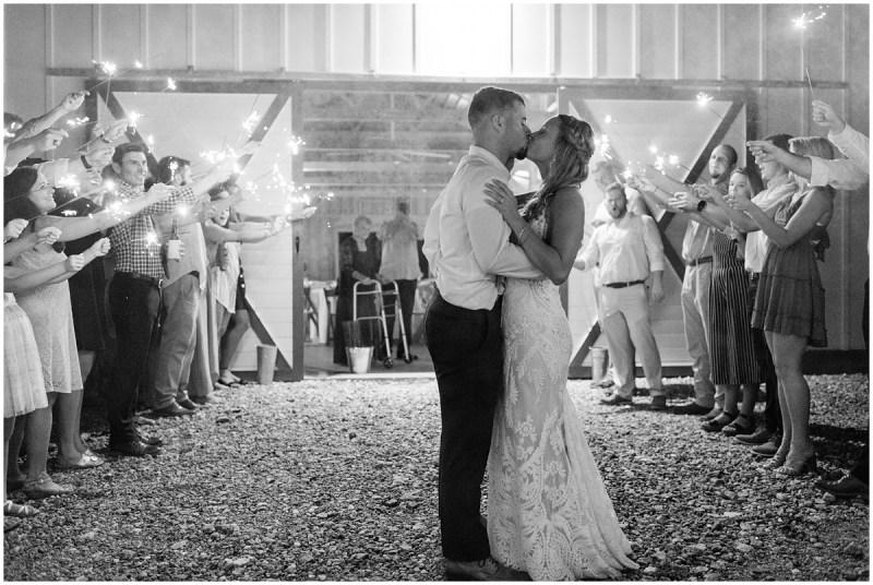 Sparkler barn wedding exit