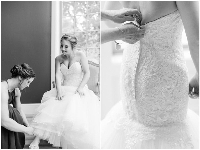 Black and white wedding getting ready photos