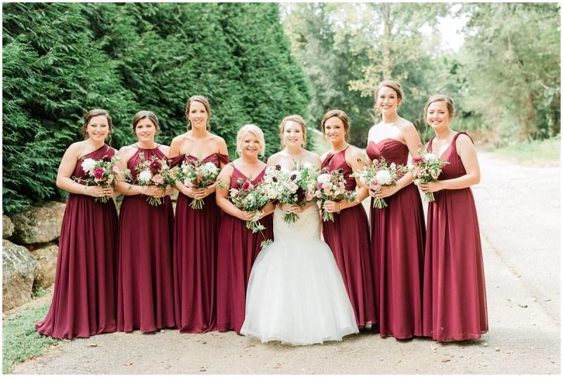 Burgundy Bridesmaid Dresses | Larkins Sawmill Wedding