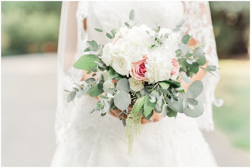 blush and ivory bridal bouquet with eucalyptus