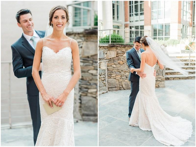 First Look in downtown Greenville, Larkins wedding