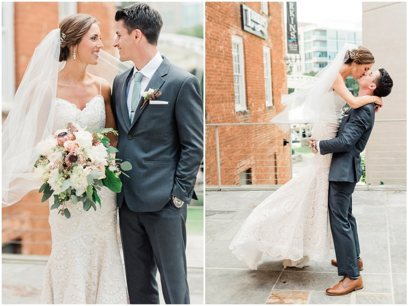 Larkins downtown Greenville wedding | Bride and Groom photos