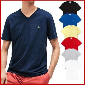 קטלוג חולצות קצרות חלקות וי לגברים לקוסט LACOSTE