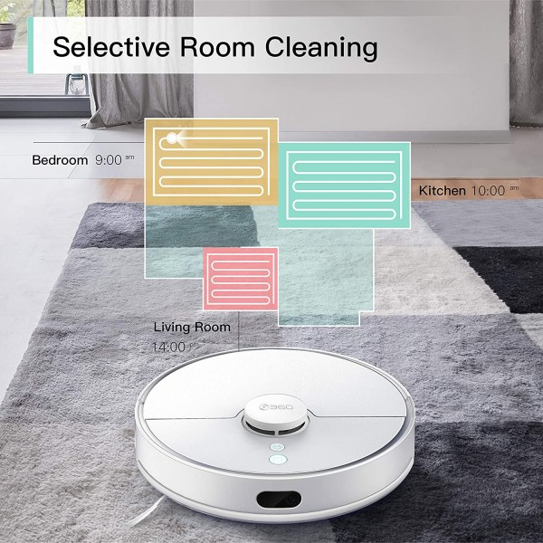 360 S5 Robot Vacuum Cleaner with Laser Mapping Technology, 2200Pa, Selective Room Cleaning, Schedule, Multi-Floor Mapping, No-Go Zones, Self Charge and Resume, Automatic Carpet Boost, Works with Alexa