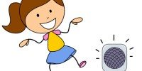 girl dancing to boom box music clipart