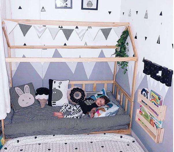 decoración infantil, cama montessori