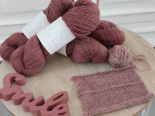 En-cours tricot et échantillon