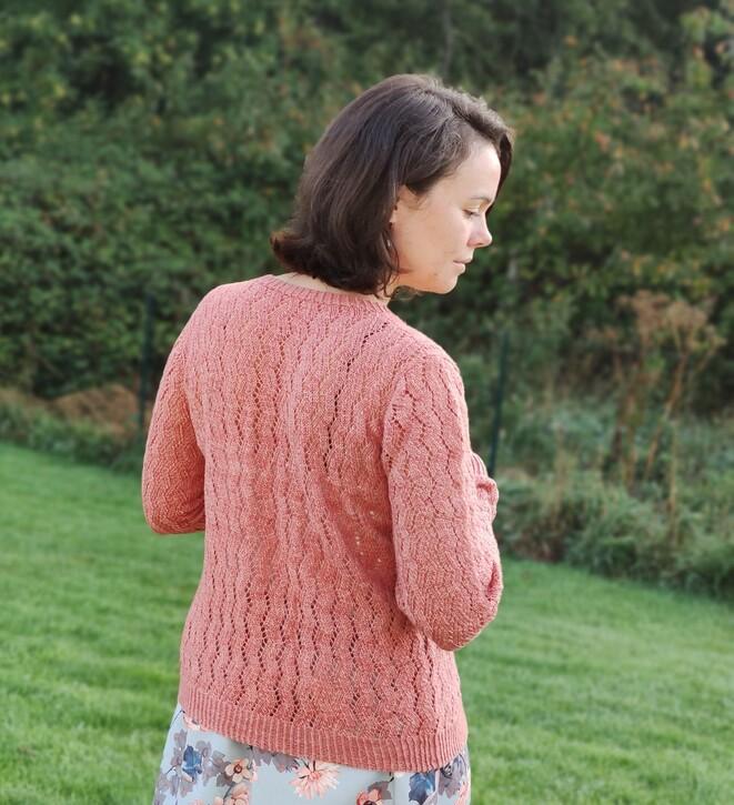 Gilet en dentelle au tricot pour femme