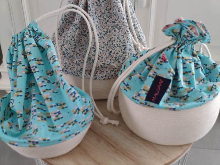 Panier en corde et tissu - Maloraé Designs