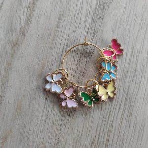 Lot anneaux marqueurs tricot - Papillons - Maloraé Designs