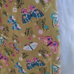Précommande panier projets tricot - Choix tissu - Papillons moutarde - Maloraé designs