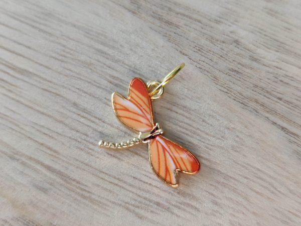 Anneaux marqueurs tricot - Libellule orange- Accessoires tricot - Maloraé Designs
