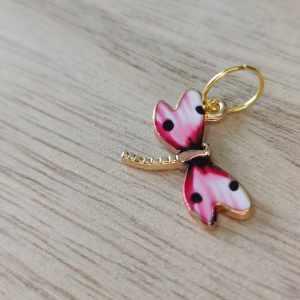 Anneaux marqueurs tricot - Libellule rose à pois- Accessoires tricot - Maloraé Designs