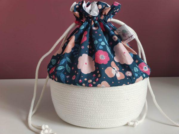 Panier projet tricot - Taille M - Fleurs bleue - Maloraé Designs